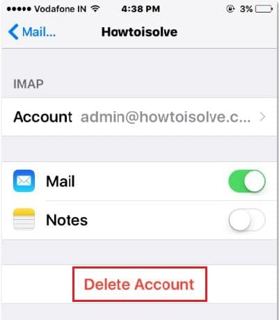 Remove or clear mail account on mail app