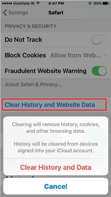 Clear all saved data at once in iOS device