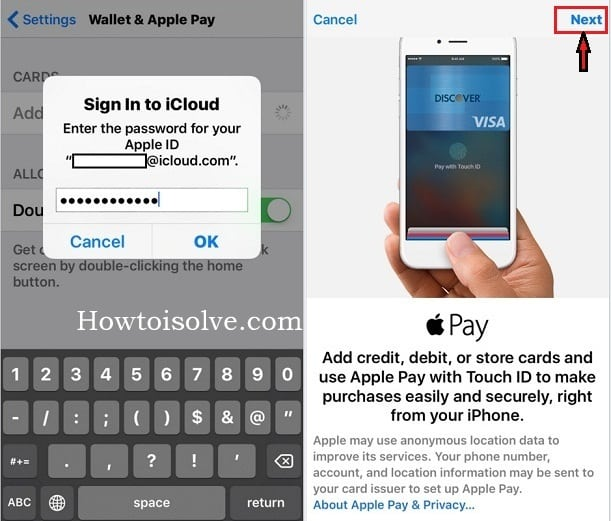 Wallet & Apple Pay  screen to add new card in iPhone iOS 9