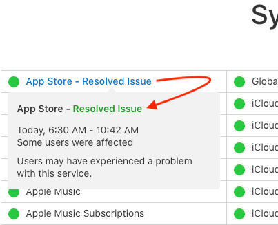 Apple System Server Status after Resolved
