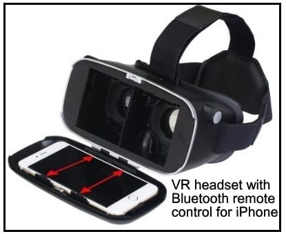 VR headset with Bluetooth remote control for iPhone 6 plus iPhone SE iPhone 5s