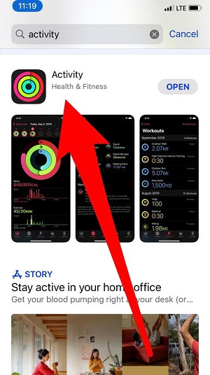 Download Activity or Workout app on iPhone app Store