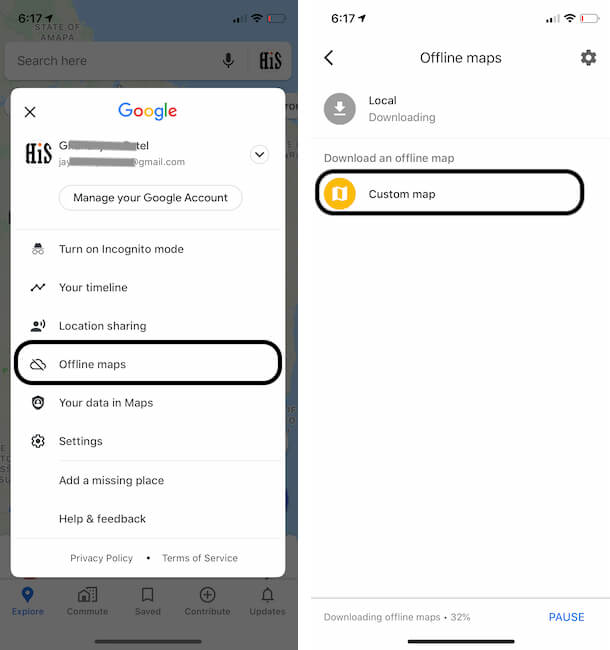 Find Offline Maps option on iPhone Google maps app