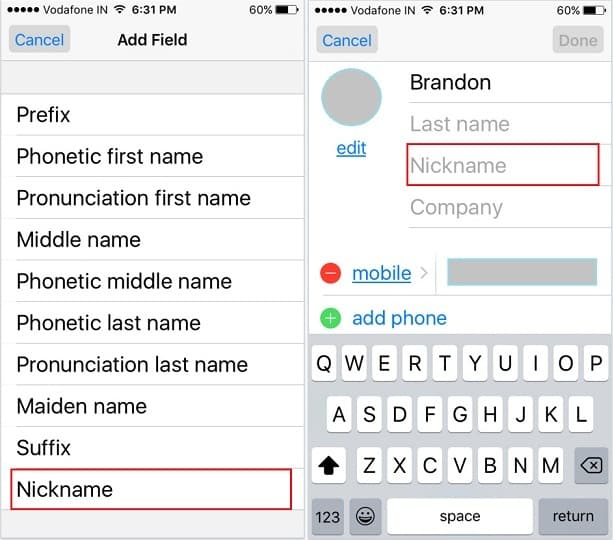 add contacts to iphone how to add nickname on iphone contacts ios 9 3122