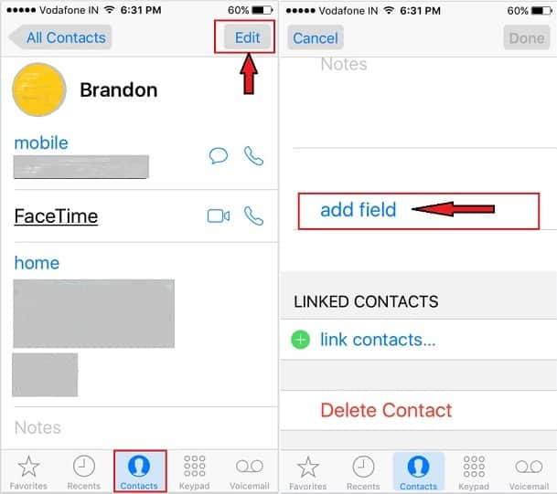 Add Nickname on iPhone Contacts iOS 9 iOS 10