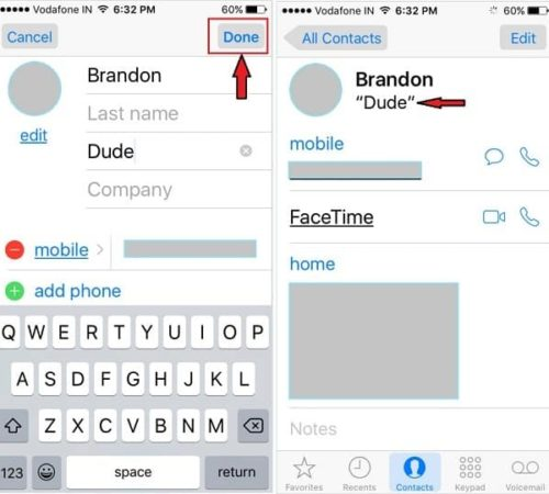 how to Add Nickname on iOS 9 Contacts
