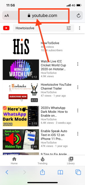Open Safari and type YouTube.com in URL Bar