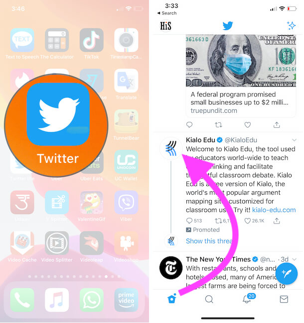 Open Twitter app and Find Twitter Profile for you want send DM