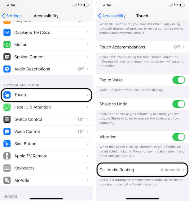 Select Call Audio Routing on iPhone settings app