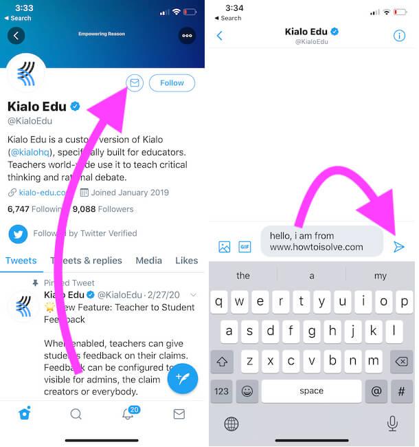 Tap on Envalop icon next to Twitter profile name