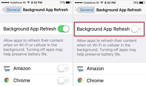 background App Refresh on iPhone SE