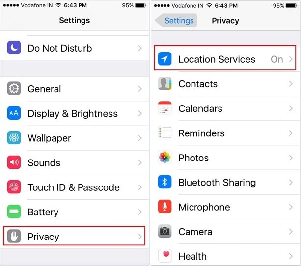 enable Turn Off location Services on iPhone SE