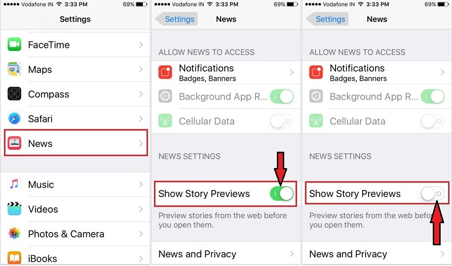 Story previews in news app settings iOS 9