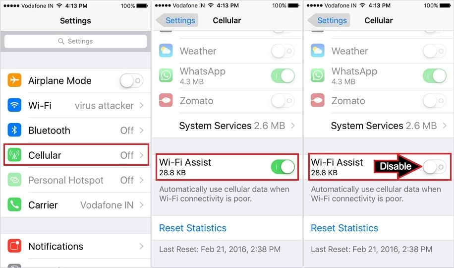 Turn Off iPhone use Cellular data when Wi-Fi is weak iOS 9.3