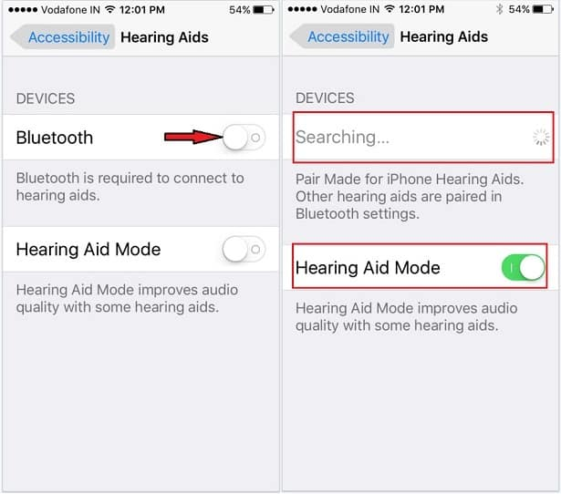 Pair hearing aids Bluetooth device on iPhone SE