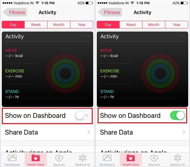 Health app not showing iWatch activity data source