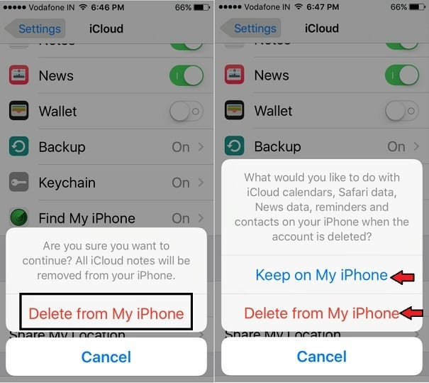 ogout Apple ID for iCloud on iOS 10, iOS 9