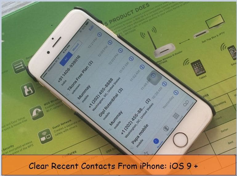 Clear recent call history on iPhone 6 / 6 Plus with iOS 9/ 8