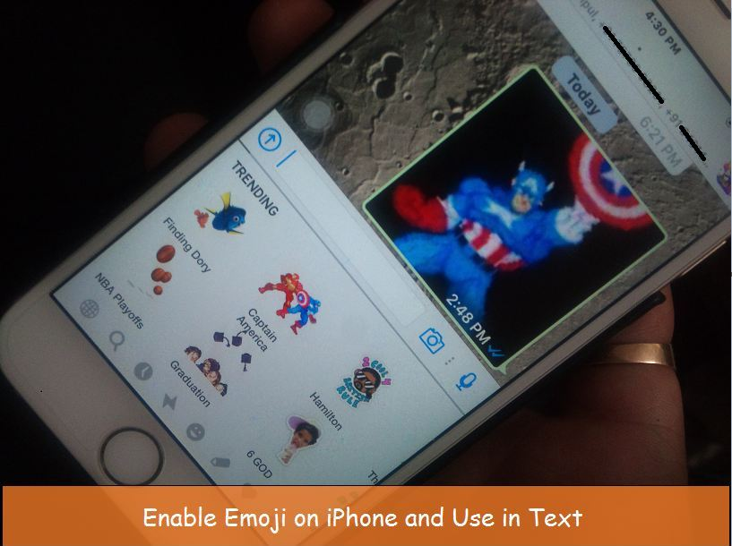 Enable emoji on iPhone 6 with iOS 9 or iOS 10