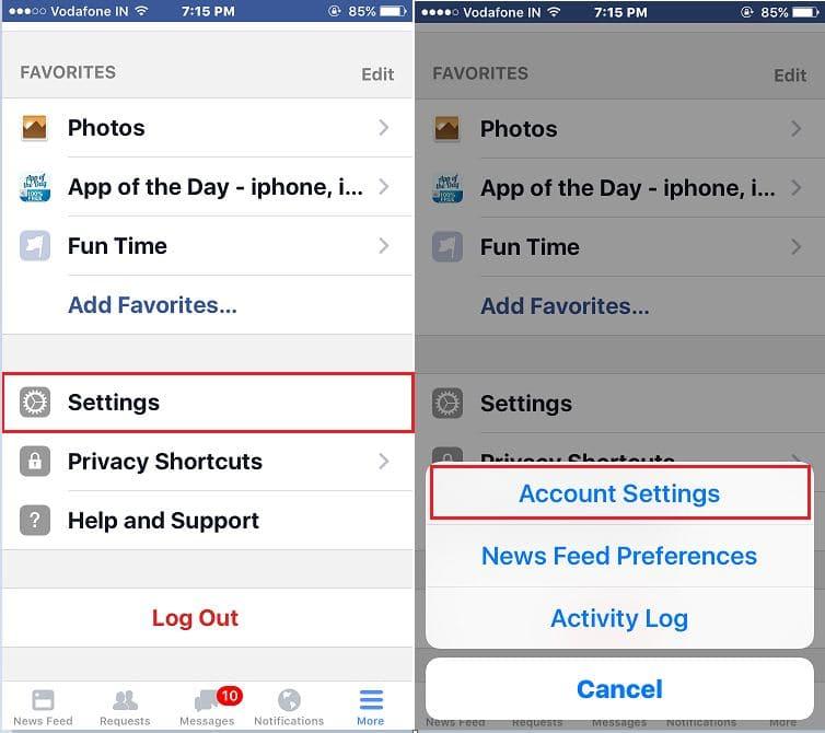 Facebook setting in iPhone app