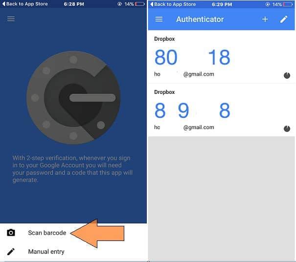 Google authonticator iOS app for dropbox