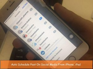 Post auto schedule from iPhone in LinkedIn, Google Plus and Pinterest