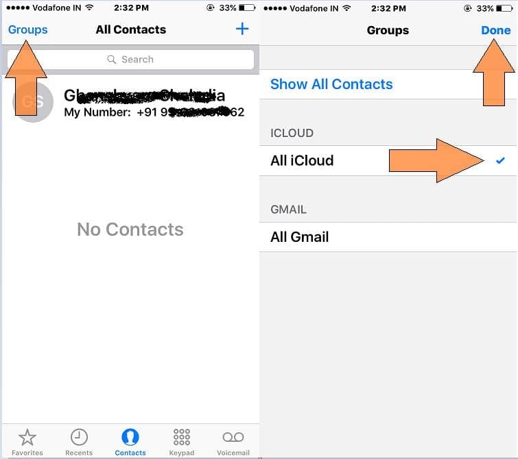 Fetch hidden or iPhone contacts gone
