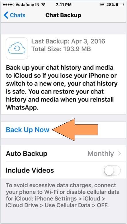 Start WhatsApp backup in iCloud