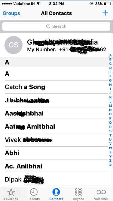 2 Recovered contact app in iPhone app