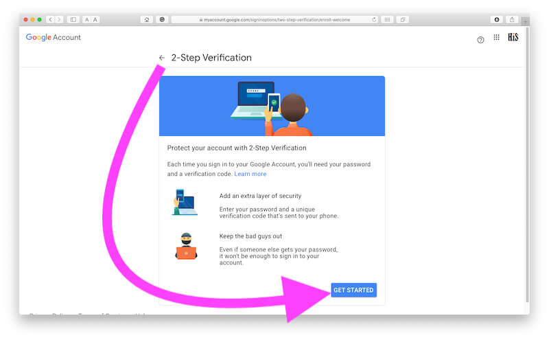 2 Step Verification for Google account