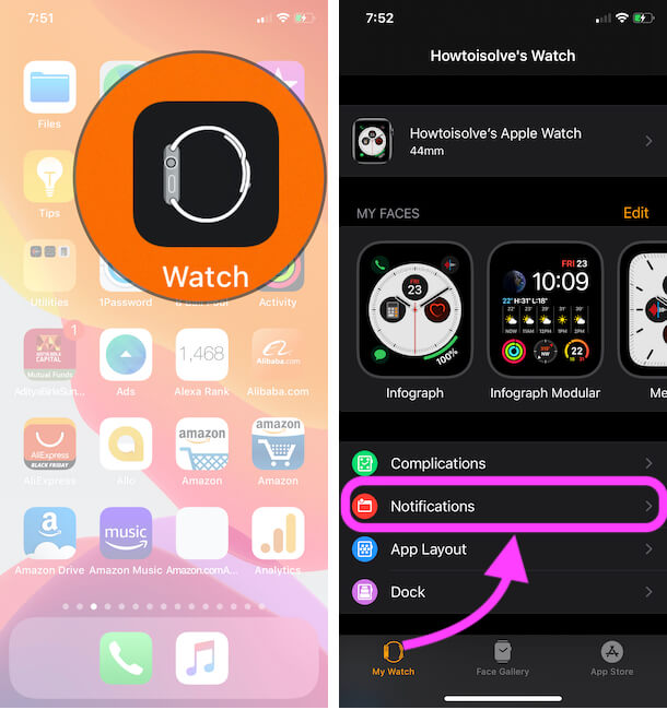 Apple Watch Notifications Settings on iPhone Watch App