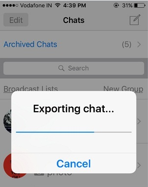 Export Chat Whatsapp on iPhone