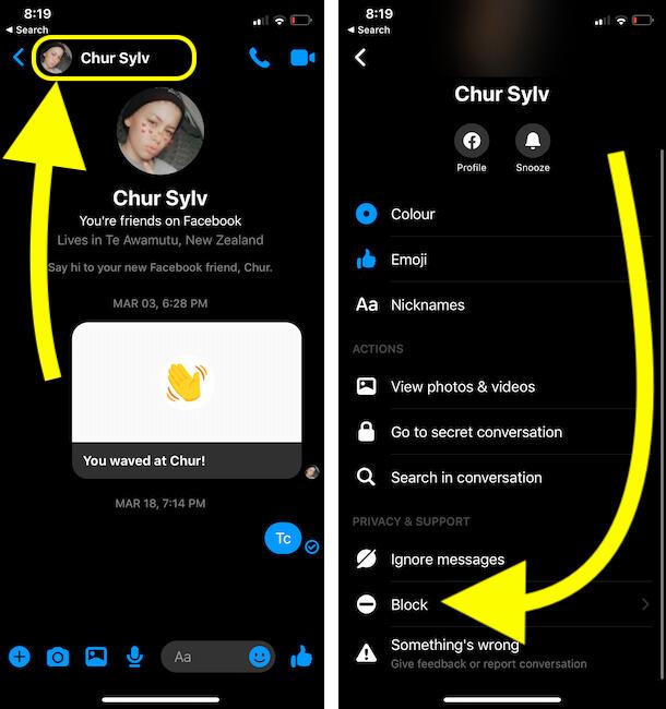 Block Facebook Account from iPhone Messenger App