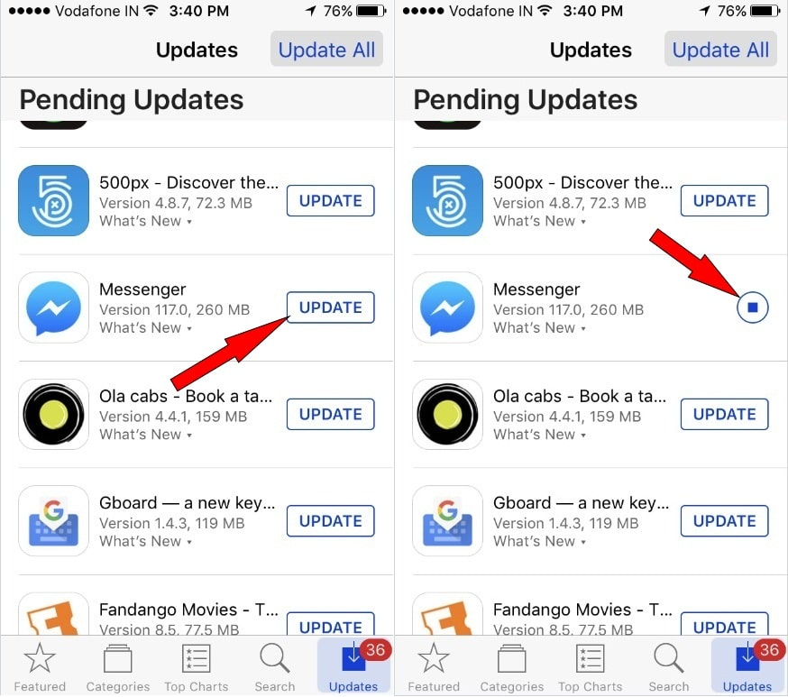 Check Messenger App update on iPhone App Store