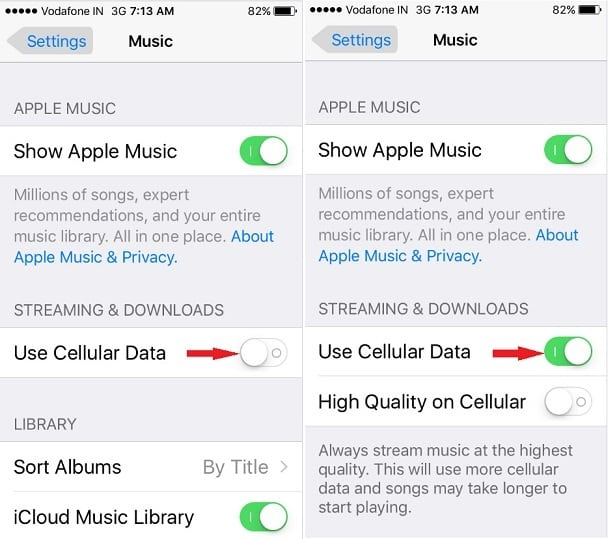 Music Streaming and Downloads for Music is enabled