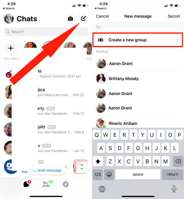 Create Group in Facebook Messenger