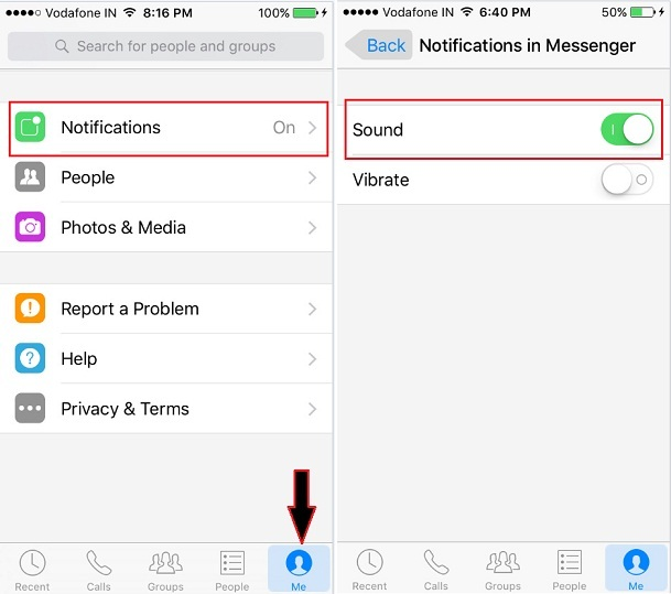 FaceBook messenger Notification on iPhone