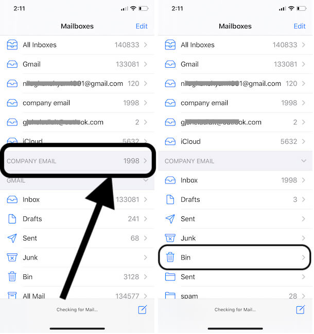 Expand the Mail Account Folders on iPhone mail app