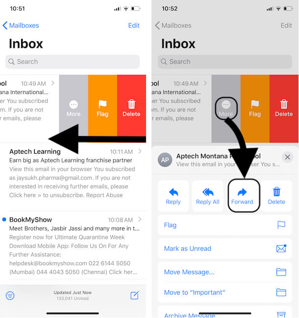 Forward Mail directly from Mail Inbox without Open it
