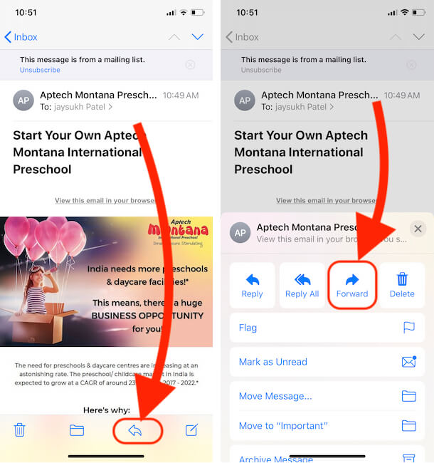 Forward Mail to Other Address on iPhone mail app