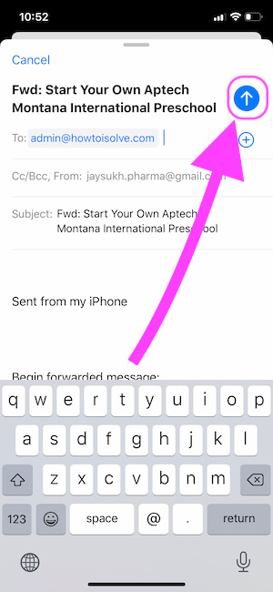 Forward mail to iPhone mail app