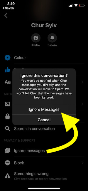 Ignore Messages conversation on iPhone