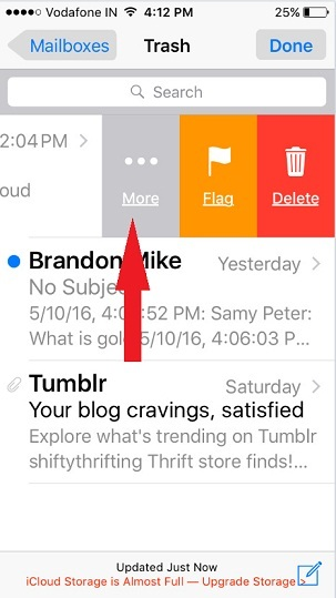 How to Move Mail from trash to inbox on iPhone: iOS 9