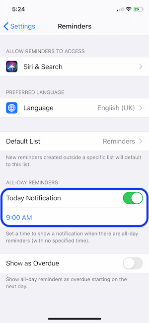 Settings for Daily Reminder notification on iPhone
