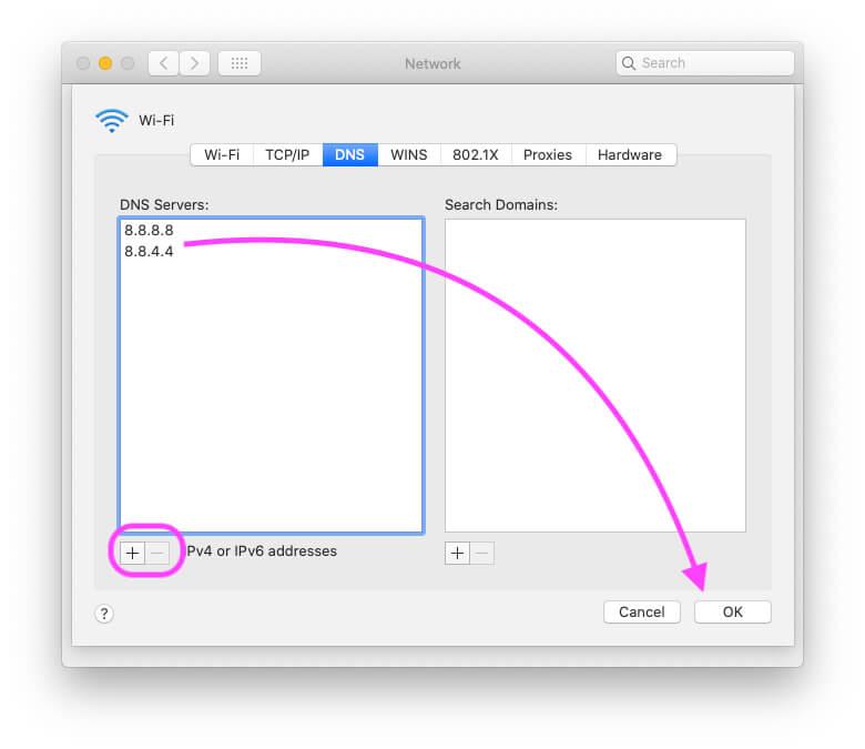 Используйте OpenDNS или Google DNS в настройках Wi-Fi MacBook Mac