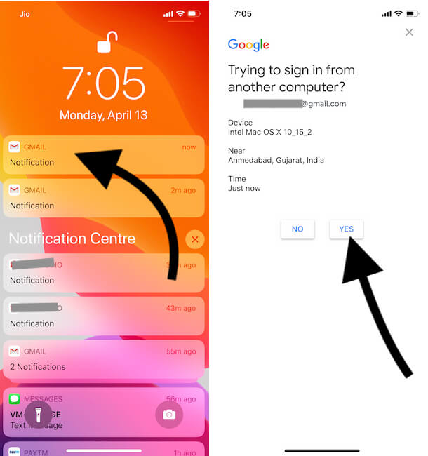 Verify Two Step Authontication on iPhone Gmail account
