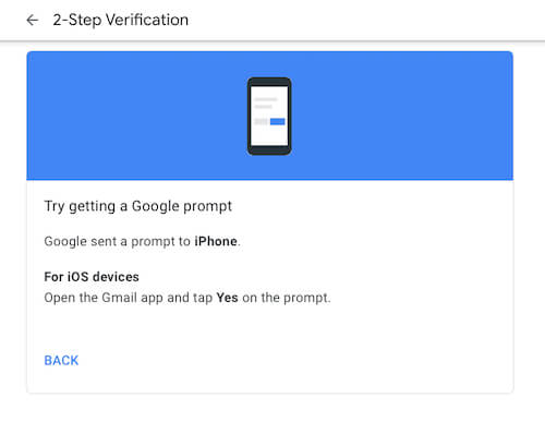 Verify Using Prompt on Google Gmail app