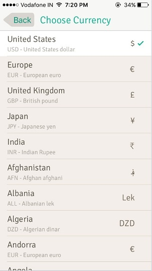International level currency wally app