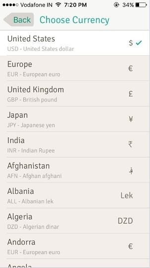 International level currency wally app