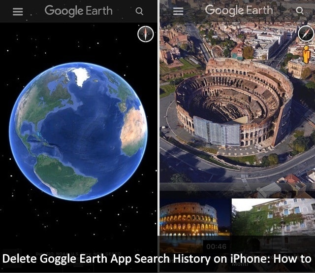 Delete Goggle Earth App search history on iPhone iPad iPod touch